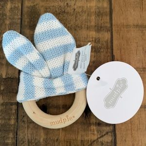 3/$10! Mudpie Wooden Ring Bunny Teether